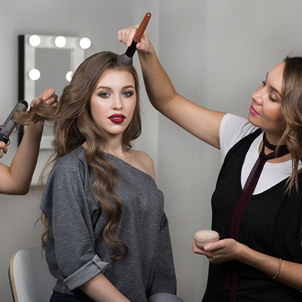 Makeup Artist Hairstylist And Model In Beauty Studio
